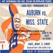 1959 Mississippi State vs. Auburn coasters. http://www.christmasfootballgifts.com/ Christmas football gifts! The best football Christmas gifts in America! #gifts #47straight