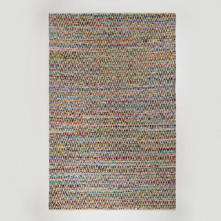 6ftx9ft chevron reclaimed cotton chindi rug world market. Black Bedroom Furniture Sets. Home Design Ideas