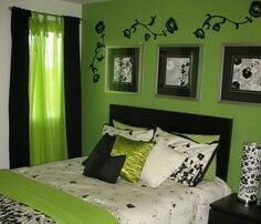 Black and green bedroom