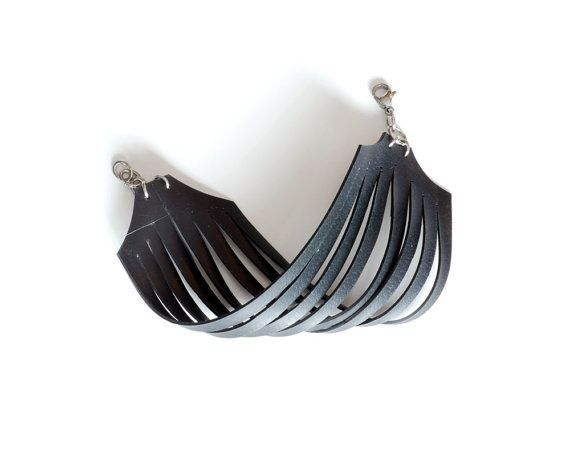 Upcycled bike inner tube black bracelet , recycled bicycle tire lines cuff…