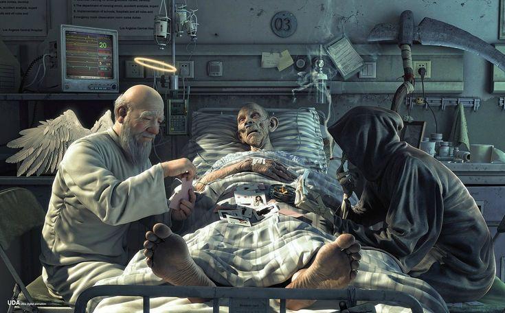 The Game of Life: Angel, Game Of Life, Inspiration, Death, Illustration, Digital Art, Hu Zheng, Gameoflife