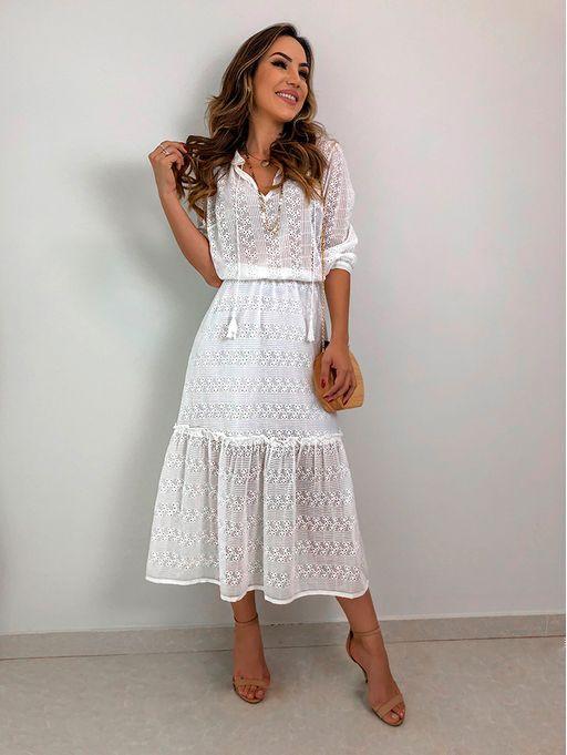 4908b49b9da Vestido Resort Chiffon Bordado Genebra   Dresses   Vestidos, Vestido branco  casual, Vestido boho branco