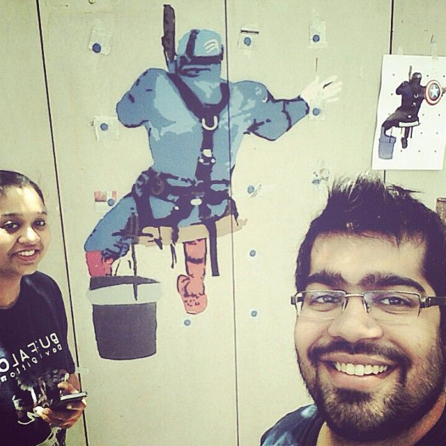 """Chilling with the Captain himself. Progress shot of captain America spray paint from a month ago. #stencil #stencilgraffiti #graffiti #streetart #urbanart #art #captainamerica #theartist #spraypaint #avengers #marvel #comic #superhero #hoozinc #hyderabad #whatwedo"" Photo taken by @hoozinc on Instagram, pinned via the InstaPin iOS App! http://www.instapinapp.com (10/08/2015)"