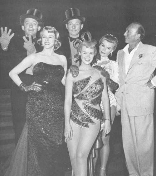 cinemastatic:      Michael Curtiz with Bing Crosby, Rosemary Clooney, Danny Kaye, Vera Ellen, and other cast member on the set of White Christmas.