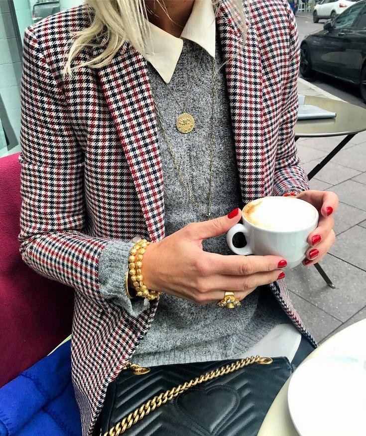 "Anna Skoog on Instagram: ""Coffee deets ☕️❤️ @lollyslaundry sweater @ashianalondon @kumkumjewelry @hermina_wristwear jewelry #sandroparis #gucci #equipmentfr"" • Instagram"
