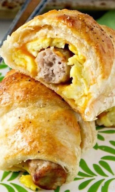 Sausage, Egg, and Cheese Breakfast Roll-Ups - canned crescent rolls, sausage links, and scrambled eggs rolled into a breakfast treat!