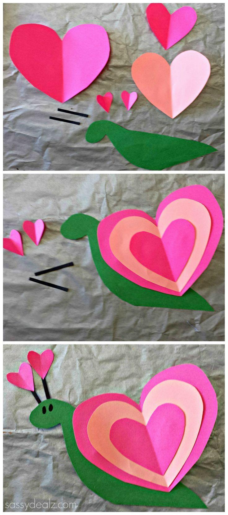 Heart Snail Craft For Kids (Valentine Art Project) #Heart shaped animal #DIY #Kids valentine | http://www.sassydealz.co...