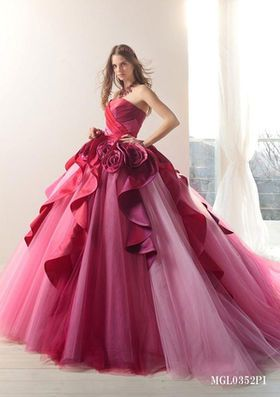 Amazing dark pink tulle wedding gown