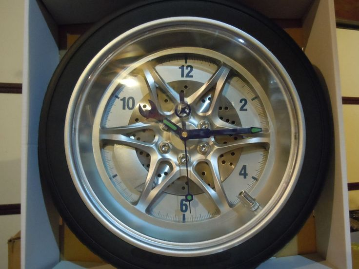 "NEW 14"" Tire Rim Gear Clock - AUTOMOTIVE COLLECTABLE With Real Rubber Tire #Unbranded"