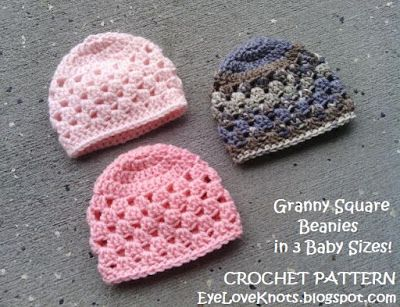 EyeLoveKnots: UPDATED! Granny Square Beanie in 3 Baby Sizes - Free Crochet Pattern