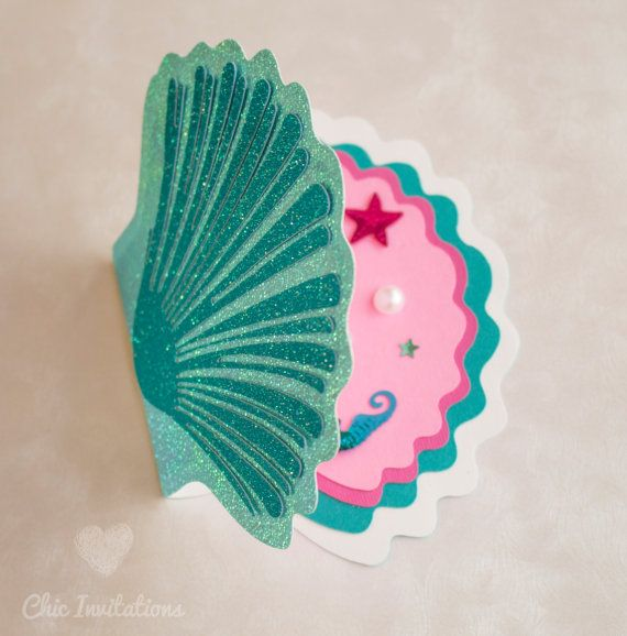 Mermaid Invitations Shell Little Mermaid by ChicInvitationsByCA