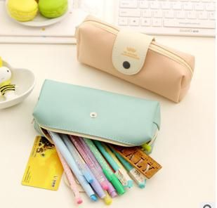 New hot 2015 Korea style BW82 simple pencil mustache small fresh PU high-capacity storage bag student stationery pencil case