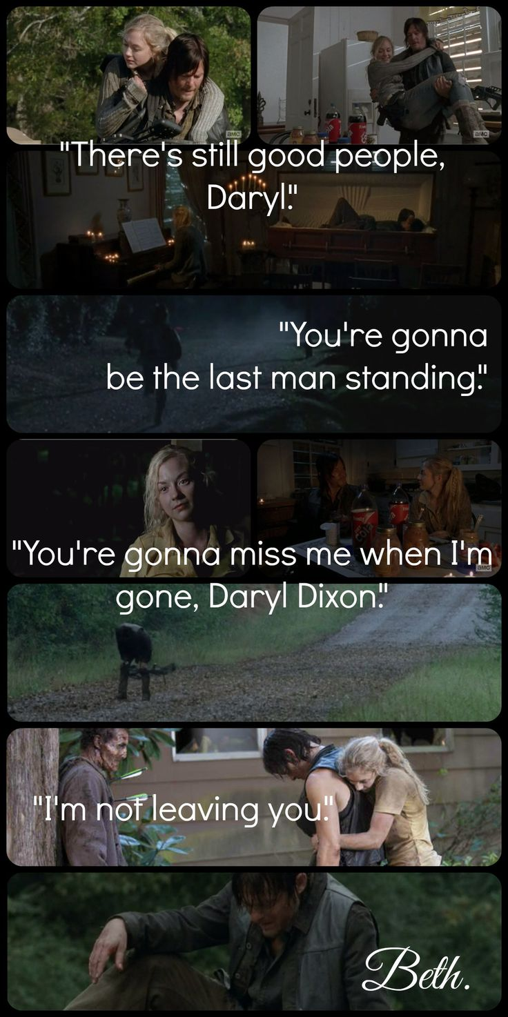 Beth was honesty and purity to Daryl. He did care for her a lot. Its sad he loses so many people in his life.<-- :(