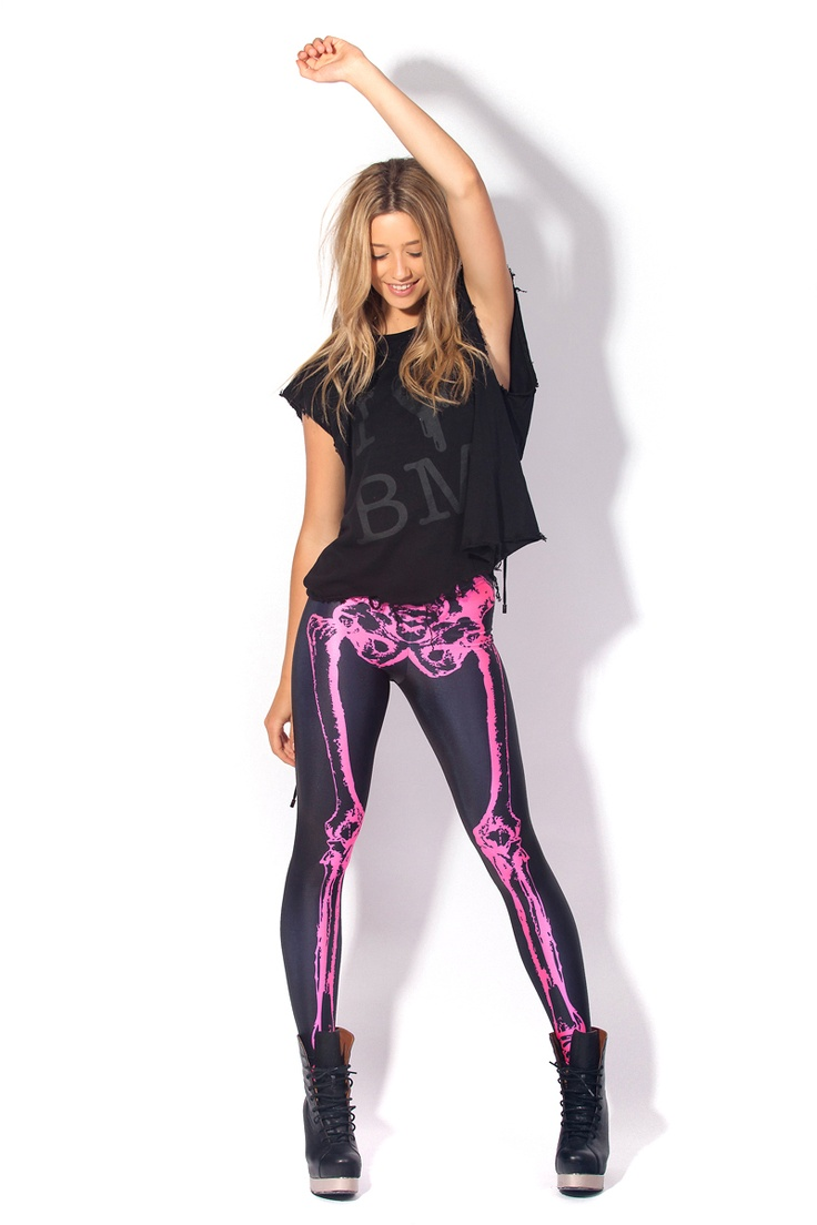 Leg Bones Fluro Pink by Black Milk Clothing