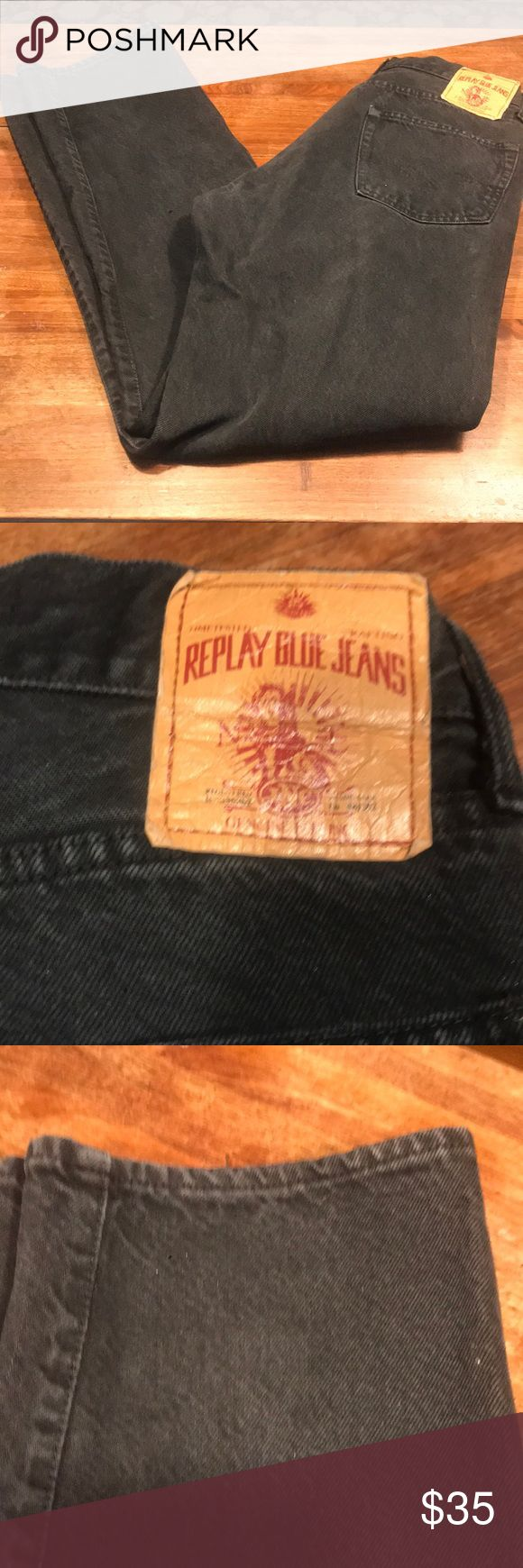 "Button fly replay faded black high waisted jeans ASOS BRAND replay jeans in a faded black ""worn"" high waisted , boyfriend style .... as they are a 900 regular which these could be men's ? But if they are they look bomb on us girls too ... they are Italian made , and made of 100% cotton .. NO GIVE ""stretch"" ... so if ur into a Vntg look , these are perf to help u achieve that vibe. Measurements are approx. 26"" waist, hips 40"", rise 11.5"", inseam 31"", ankle opening 14"".. items laid flat for…"