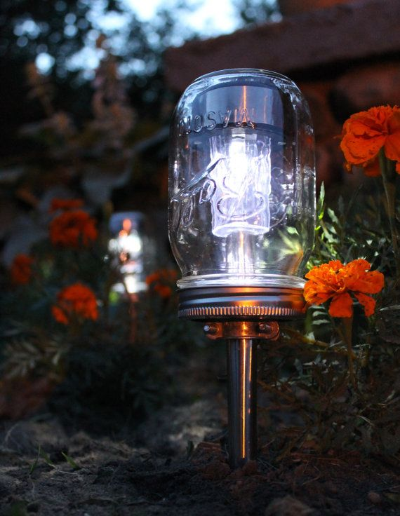 Solar Powered Mason Jar Lighting Eco Friendly Renewable Energy Outdoor Path  Light   Set Of 3