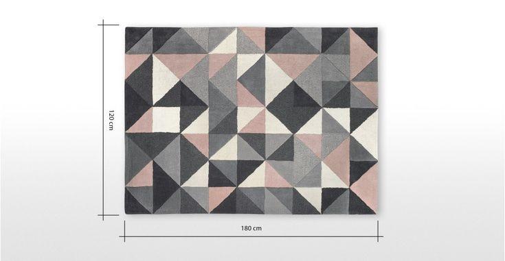 Grey Pink Yellow Rug Wool Tufted Geometric 120 x 180cm Henrik   MADE.com