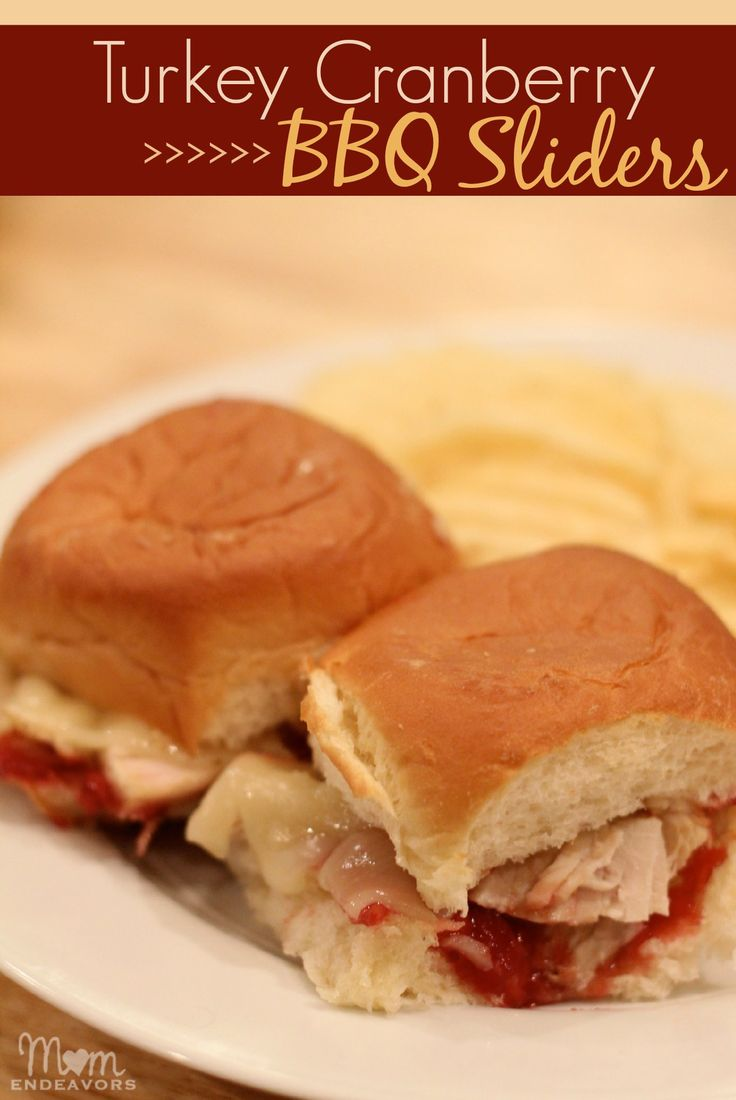 Turkey Cranberry BBQ Sauce Sliders via momendeavors.com - perfect for post-Thanksgiving football games!