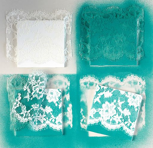 lace + spray paint + tiles = coasters or trivets tutorial
