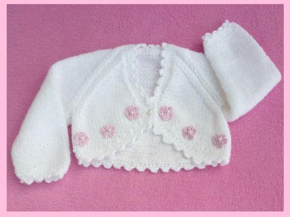 White hand knitted premature baby bolero cardigan