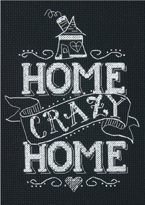 Home Crazy Home Mini Chalkboard Counted Cross Stitch Kit by Dimensions by happyvalleymercantil on Etsy