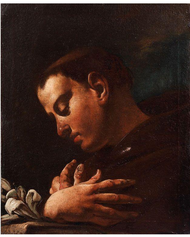 HEILIGER ANTONIUS VON PADUA Öl auf Leinwand. 45,5 x 37,5 cm. Beiliegend eine Expertise von Prof. Ugo Ruggeri. Das vorliegende Gemälde weist sehr deutliche...