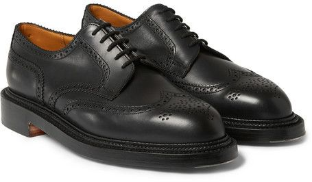 $1,220, Black Leather Brogues: Jm Weston 590 Leather Wingtip Brogues. Sold by MR PORTER. Click for more info: http://lookastic.com/men/shop_items/156048/redirect