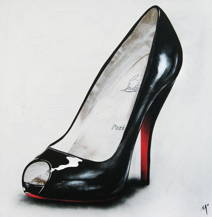 "Original Artwork by Matt Stewart. Size: 100cm (39.3"") x 100cm (39.3""). Acrylic / Aerosol #art #artwork #fashion #home #interiordesign #louboutin #shoes #pumps #heels #wardrobe  www.mattstewart.tv"