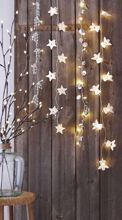 Decoraciín Country Chic con luces navideñas