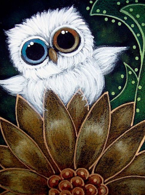 TINY ALBINO OWL ODD EYES IN MY GARDEN Cyra R. Cancel