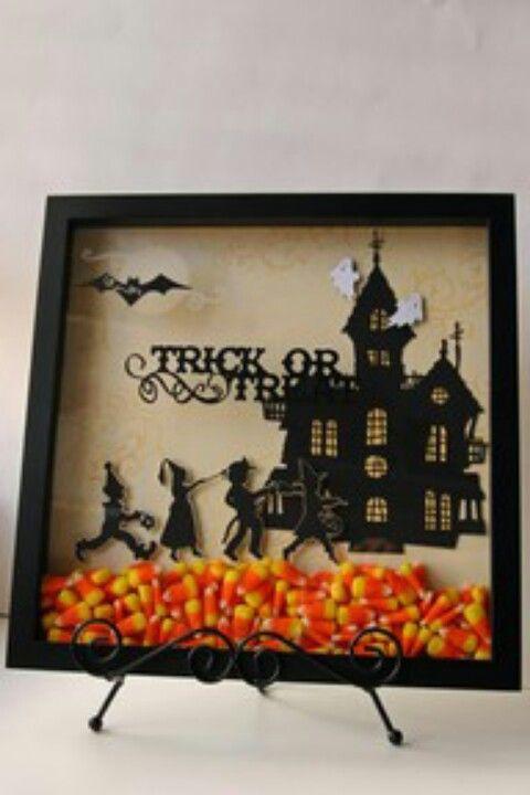 Seasonal shadow box Halloween decor. DIY. Candy corn idea is super cute!