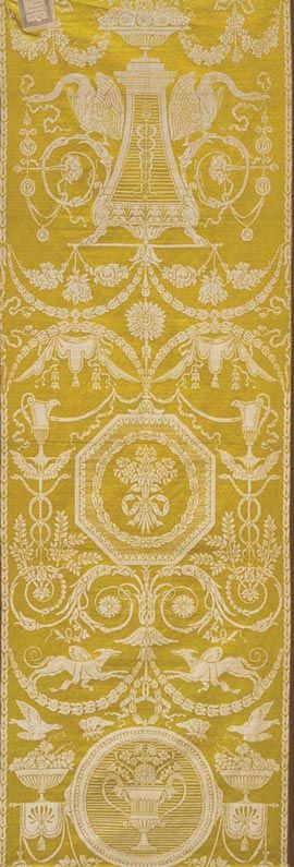 SILK FURNISHING PANEL MANUFACTURED BY MAISON PERNON & CIE, ATTRIBUTED TO JEAN-DÉMOSTHÈNE DUGOURC French (Lyon), 1788