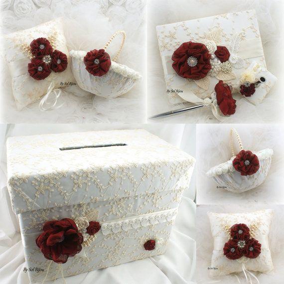 Dinero tarjeta titular caja marfil Burdeos rojo caja de la