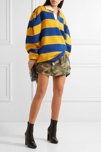 Oversized pleated striped jersey shirt with military skirt