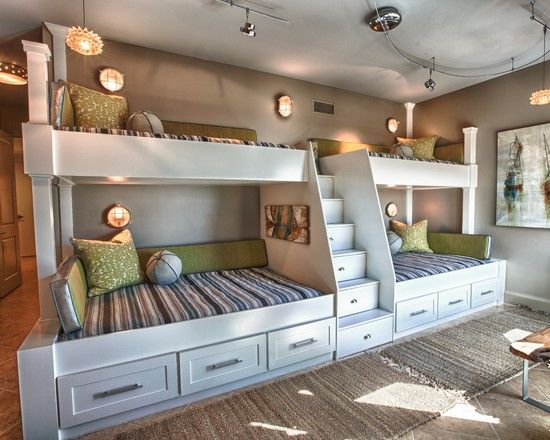 Childrens Bedroom Decor Ideas for Your Inspiration : Use Built In Bunk Beds With Stair Drawers And Track Light For Childrens Bedroom Decor Ideas In Contemporary Bedroom Design