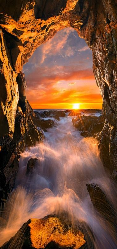 Sun Gate   Cave lighted up by the last rays of the sun   by Bsam