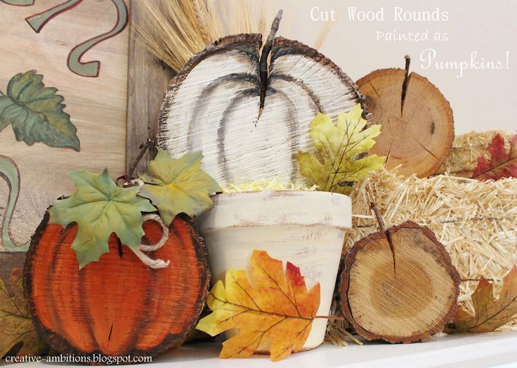 Painted Fall Pumpkins on Cut Wood Slices