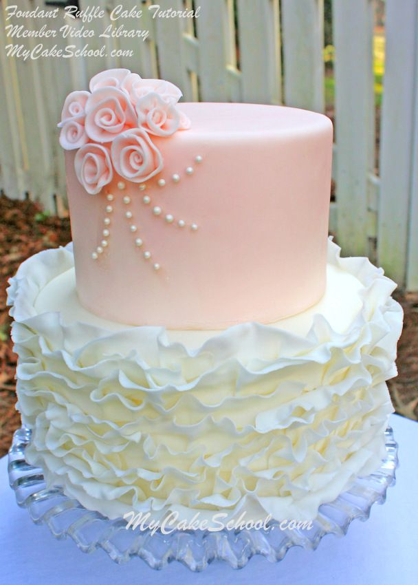 Learn to make an elegant fondant ruffle cake in MyCakeSchool.com's video for members. (Found in Member Tutorial Library).