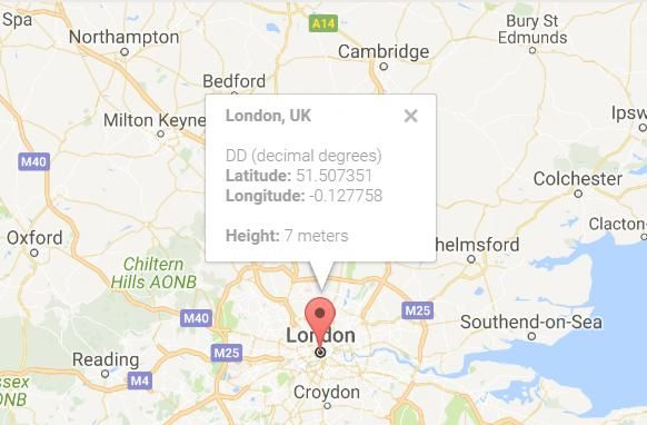 Find a location on a Google map by geographic coordinates of the GPS or vice versa http://gps-coordinates.info