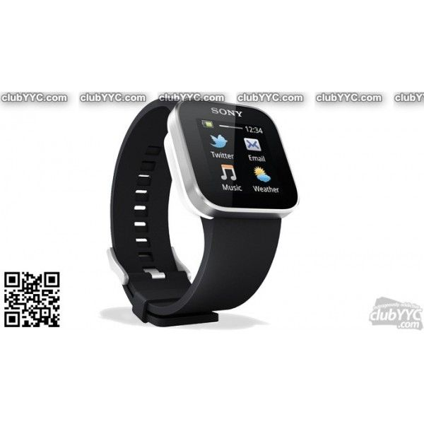 "Sony SmartWatch for Android Smartphones w/1.3"" LCD, Black Wristband & Adapter for Custom Wristbands (MN2SW) by www.clubyyc.com"