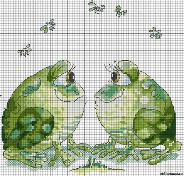 st valentin frog cross stitch