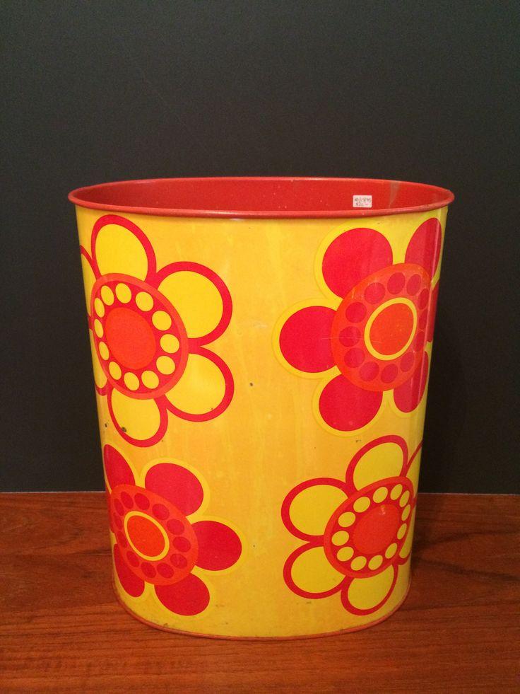 """MCM """"Flower Power"""" Metal waste Basket"""