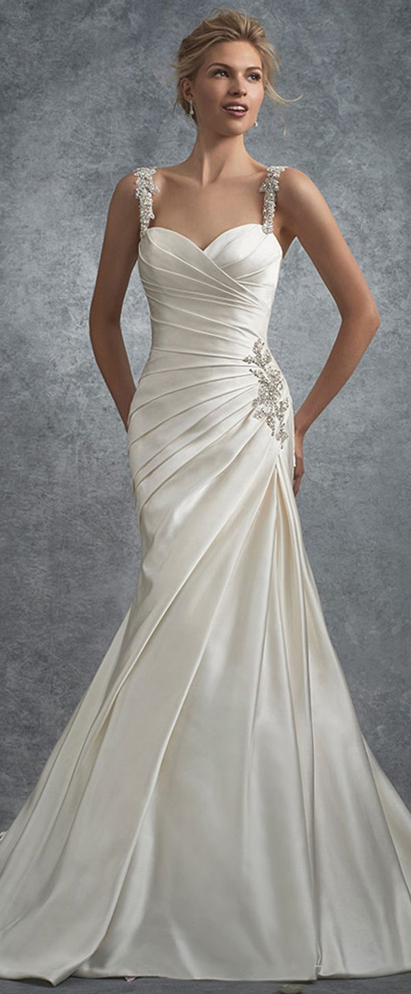Marvelous Satin Sweetheart Neckline Mermaid Wedding Dresses with Beaded Lace Appliques & Pleats