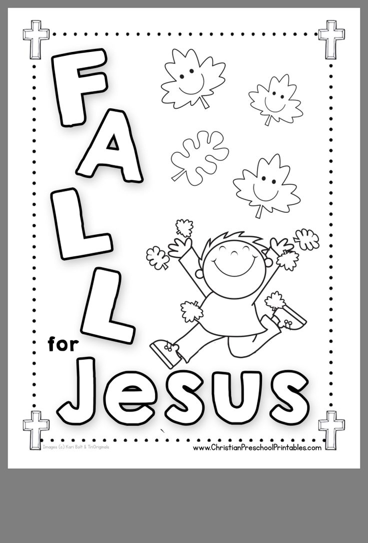 Fall for Jesus printable coloring page with leaves