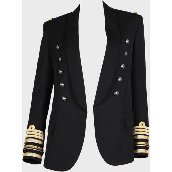 Black Military Jacket (5 760 BGN) ❤ liked on Polyvore featuring outerwear, jackets, women, army jackets, wool military jacket, balmain, wool field jacket and field jackets