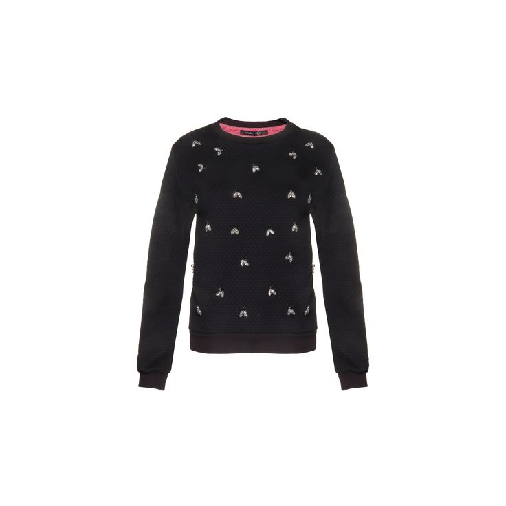 Naughty dog #FW1415 quilted fabric #blouse, decorated with crystal and black Swarovski elements.