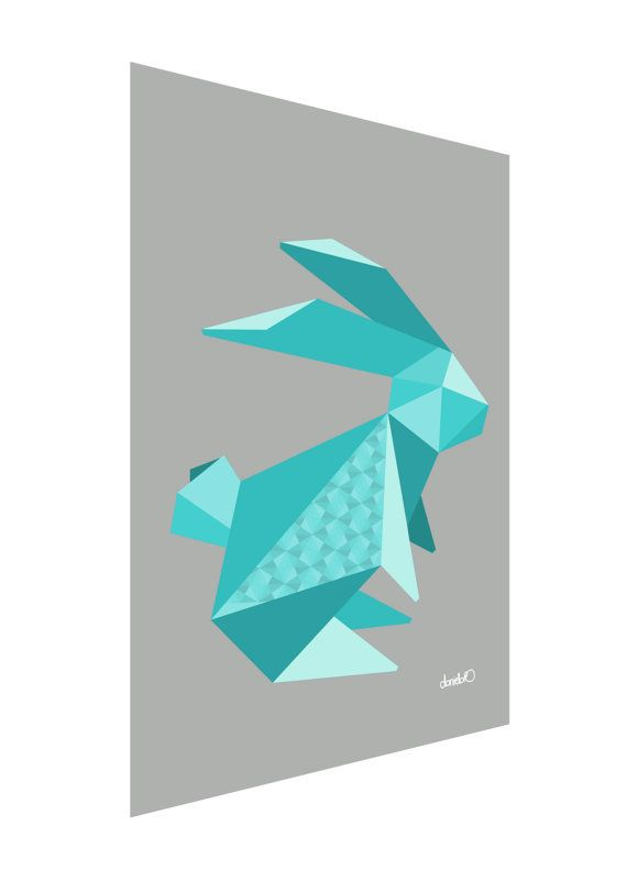 Easter Bunny Origami Animal Art Rabbit Origami by FoodNotBombs, £8.70 https://www.etsy.com/uk/shop/FoodNotBombs #origami #origamiart #geometric
