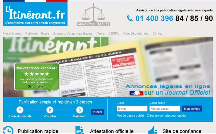 Nouveau service en ligne du journal d'annonces légales L'Itinérant.