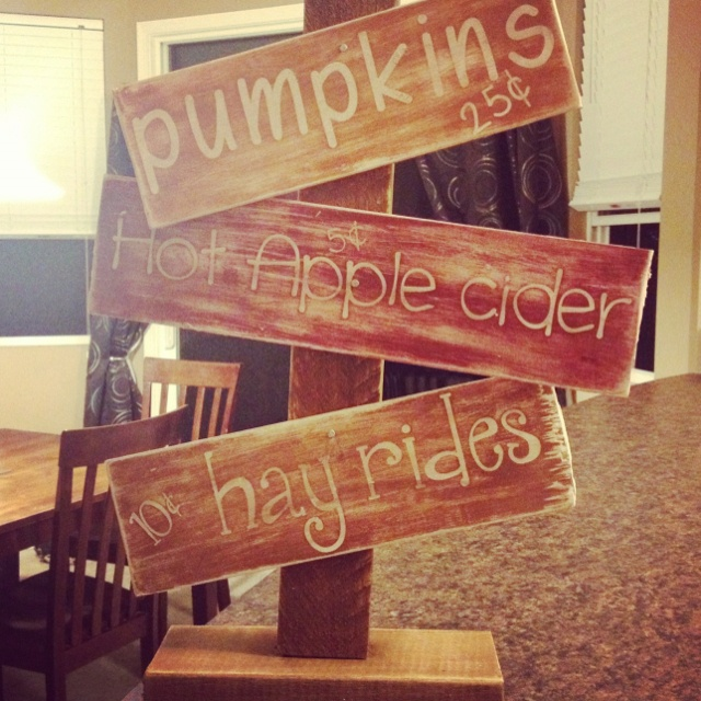 Use this concept to make sign...maybe arrows pointing different directions, indoor fall decor