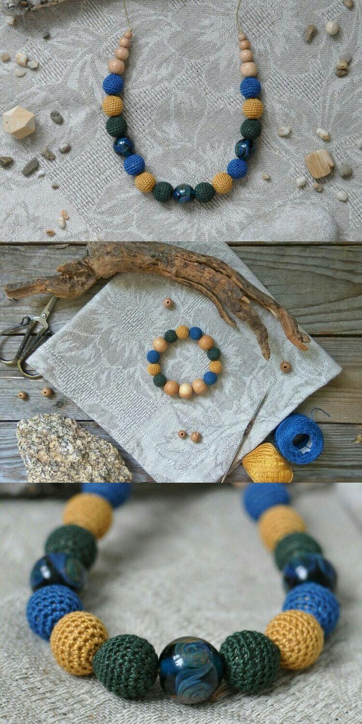 2250 рублей. Вязаные бусы и браслет. Crochet necklace, wooden beads, braslete.